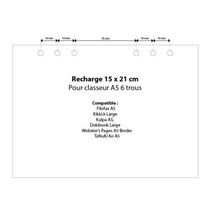 Perforations des recharges classeur A5 en mm