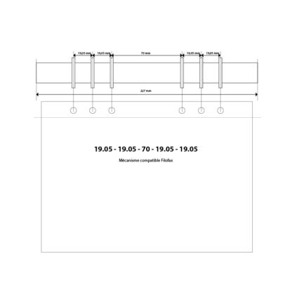 Schéma mécanisme 6 anneaux pour classeur A5 compatible Filofax